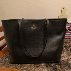 Gently used black Coach laptop tote bag
